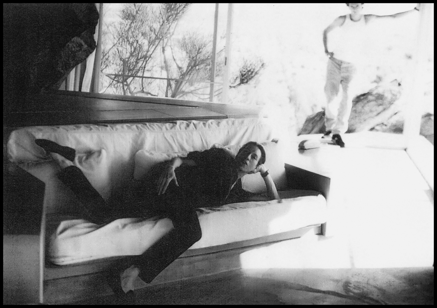 """This was in Palm Springs at the house of the architect Albert Frey. I was shooting there for an April 2000 Vogue story about minimalism, and I was 'interpretive modeling' for Arthur again. The guy behind us must be one of his assistants."""