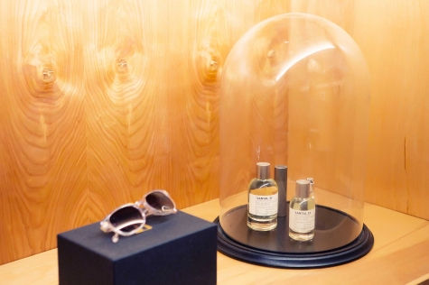 Linda Farrow glasses and Le Labo perfume.