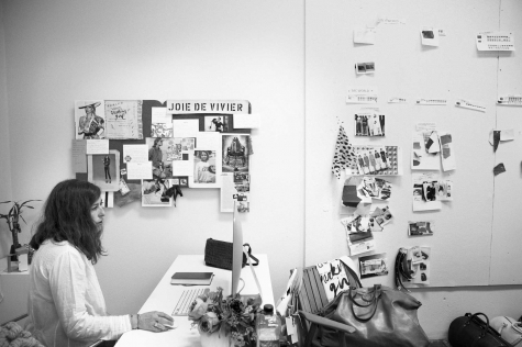 The designer at her desk.