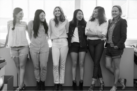 The designer with her team – all in jeans! From left, Mandy Freiberg in vintage Levi's, Bessie Hwang in J Brand, Lizzie Swift in Imogene & Willie, Krystle Li in Forever21 shorts and her guy friend's Duc Kien US jacket, Clare, and Greta Heichemer in Earnest Sewn.