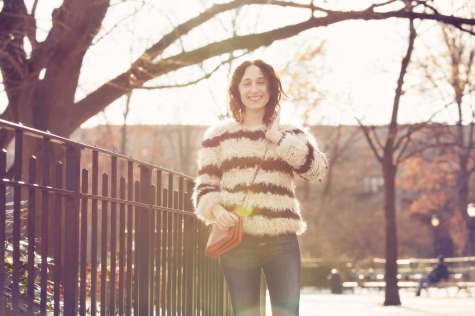 Nicole wears Mother's Pixie jean in Tompkins Square Park, NYC.