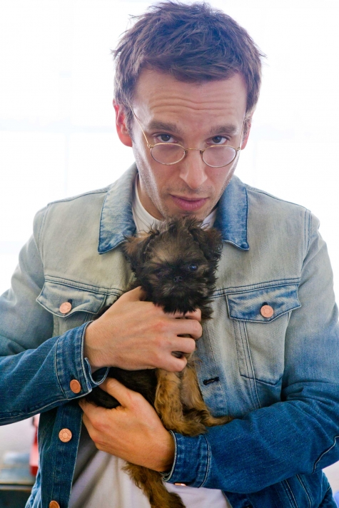 Designer Scott Sternberg and his Brussels Griffon puppy, General Zod.