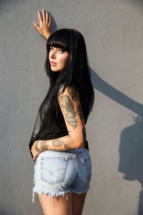 Alexis Krauss of the band Sleigh Bells in her Levi's jean shorts before last night's show at Brooklyn Bridge Park.